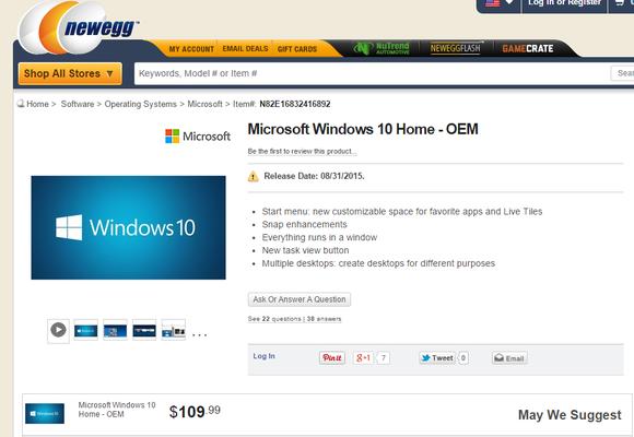 Известна цена, а также дата выхода Windows 10